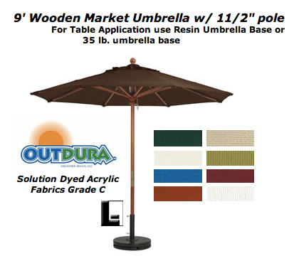 "9 foot market umbrella with 11/2"" pole: lodgingkit 9 Foot Umbrella Base"