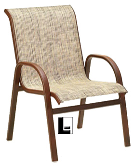 Arista Outdoor Stackable Dining Chair W Arms Woven Sling