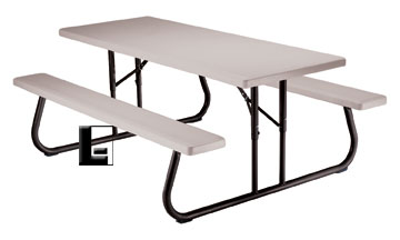 X Commercial Folding Picnic Table Seats Umbrella Hole - 96 picnic table
