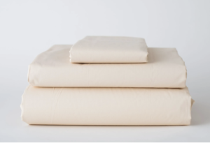 T180 Linen Bedding Sheets Fitted Bone