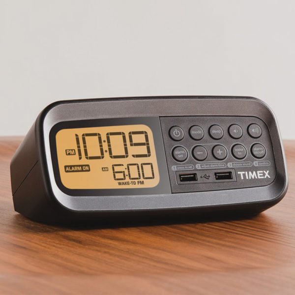 Timex T1305 FM Clock Radio with Dual USB Charging for hotel