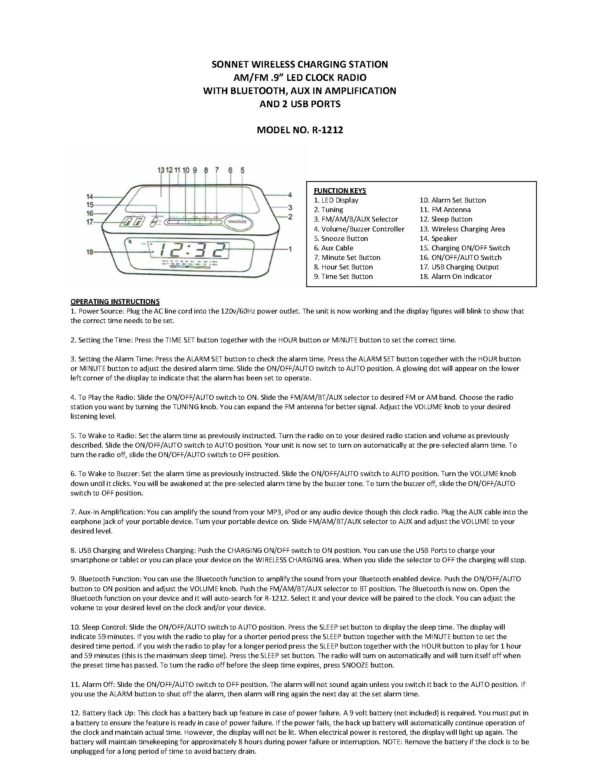 Instruction Manual for the Sonnet R1212 wireless charging clock radio