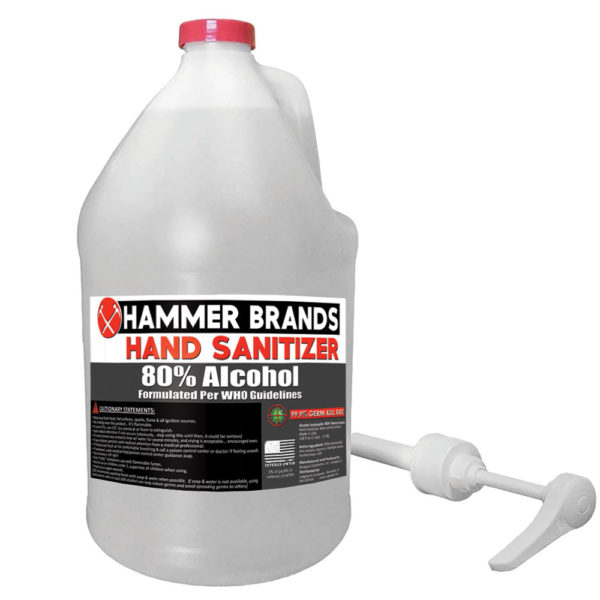 HAMMER BRANDS hand sanitizer and surface sanitizer gallon, 75% alcohol, made in USA
