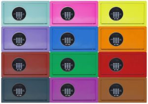 Colorful in-room safes for hotels
