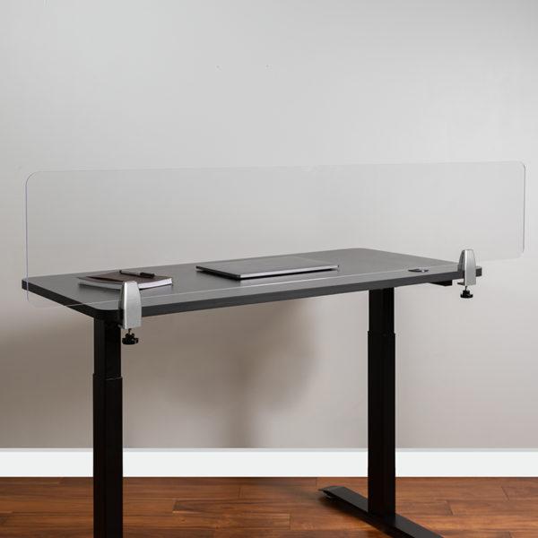 """Clear Acrylic Desk Partition, 12""""H x 60""""L"""