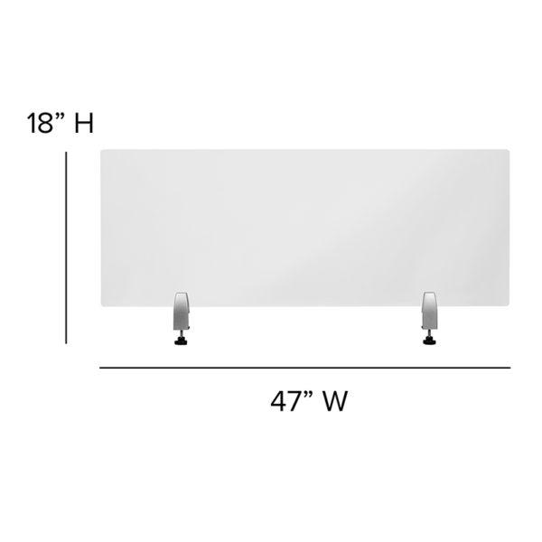 """Clear Acrylic Desk Partition, 18""""H x 47""""L"""