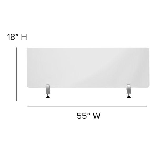 "Clear Acrylic Desk Partition, 18""H x 55"""