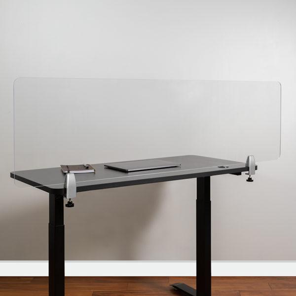 """Clear Acrylic Desk Partition, 18""""H x 60""""L"""