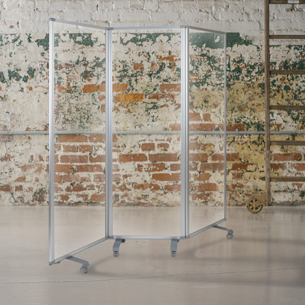Transparent Acrylic Mobile Partition with Lockable Casters