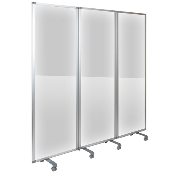 Transparent Acrylic Mobile Partition with Lockable Casters, (3 Sections Included)
