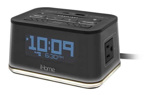 iHome HiH50 Bedside Single Day Alarm Clock with Nightlight, Dual AC Outlets and Dual USB Charging