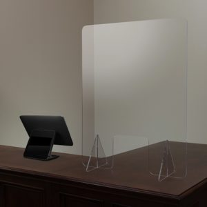 Free-Standing Acrylic Register Shield Sneeze Guard