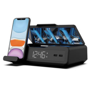 UV Light Phone and Remote Sanitizer with clock, wireless charger and USB ports
