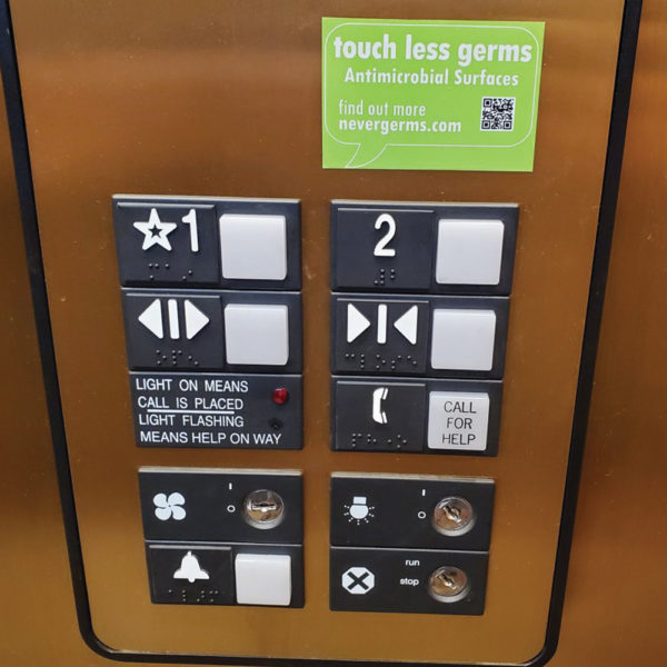 antimicrobial elevator button surface covers