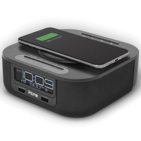 HW5 Qi Wireless Charging Bluetooth Bedside Stereo Speaker Alarm Clock with Single Day Alarm, Dual USB Charging for hotels