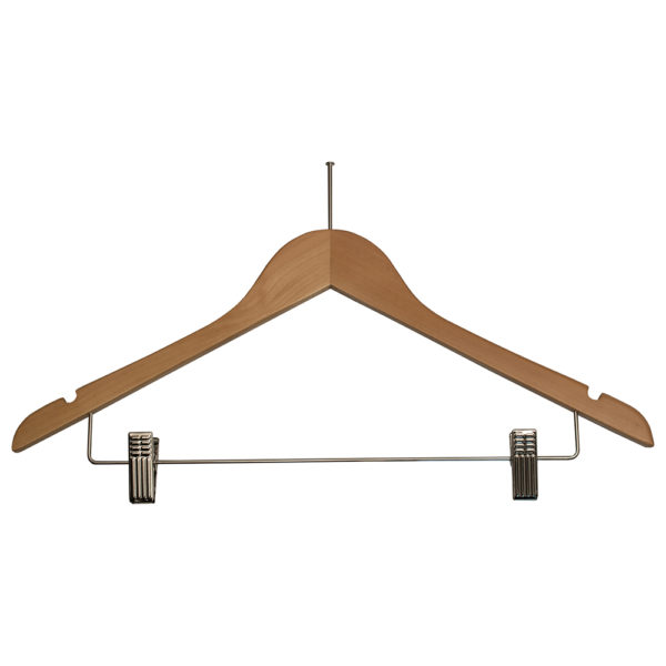 Ball Top Ladies' Hangers with Clips-for-hotels-Natural-Chrome-32082
