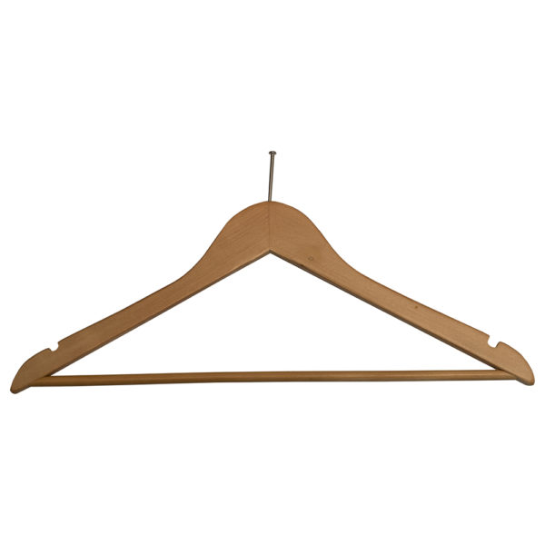 Ball Top Men's Hangers, Fixed Bar-for hotels-Natural-Chrome-31080