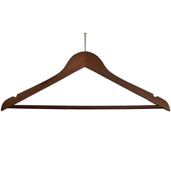 Ball Top Men's Hangers for hotels- Fixed Bar - Walnut_Chrome-31280