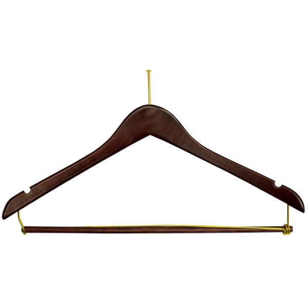 Ball Top Men's Suit with Lock Bar-Walnut-Brass-hotel hangers-34281