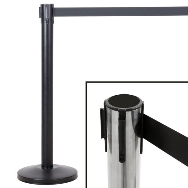 Crowd Control-Guidance Stanchion 36 inch in Black or Silver Metal with 78 inch Retractable Belt for hotels, restaurants, bars and resorts