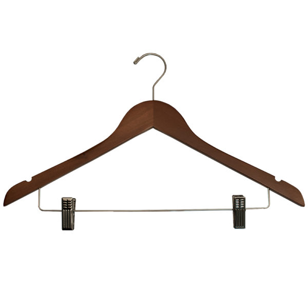 Ladies' Hangers with Clips for hotels- Walnut_Chrome-32272