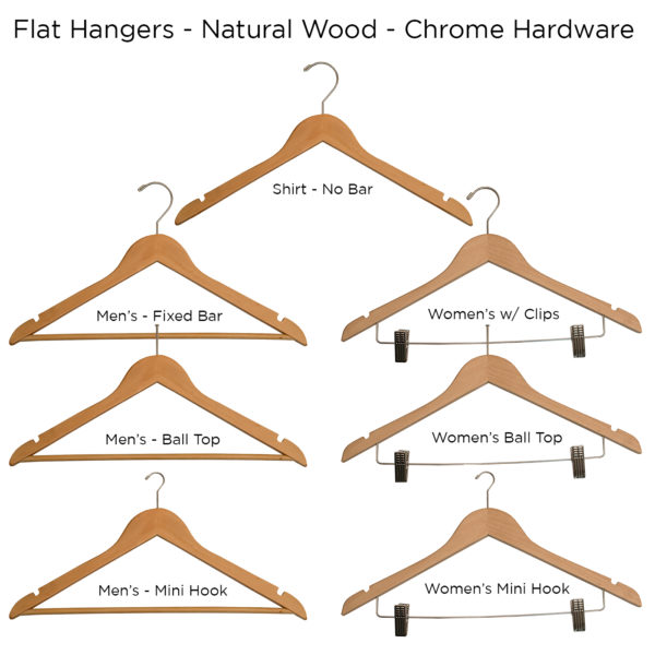 Natural-Flat-Wood-Hangers or hotels-ALL