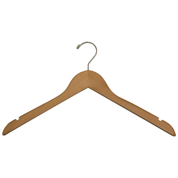 Regular Hook Shirt Hangers for Hotels, No Bar - Natural_Chrome-31010