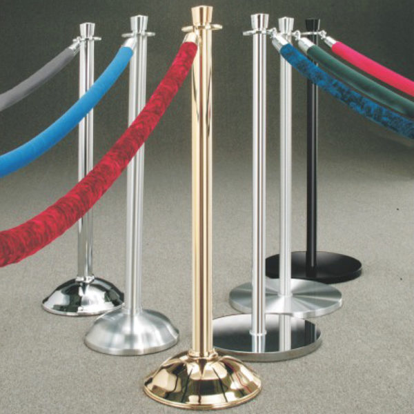 """DELUXE TRADITIONAL POSTSCrowd Control Stanchions 38"""" Satin Aluminum; Standard Crown, 14"""" Flat Base"""