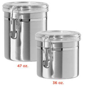Kitchen Storage Cans, Stainless Steel, 36 oz & 47 oz