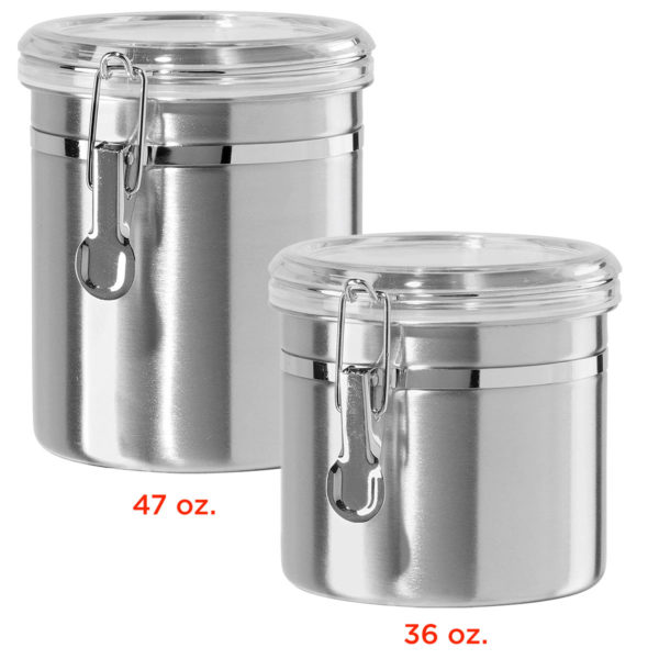 Kitchen Storage Cans, Stainless Steel, 36 oz & 47 oz