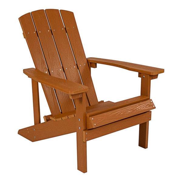 Brown Adirondack Chair, Poly, Faux Wood, Outdoor Commercial Chair