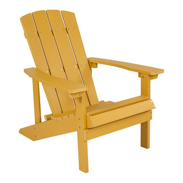 Adirondack Lounger, Yellow, Outdoor Waterproof Composite Wood