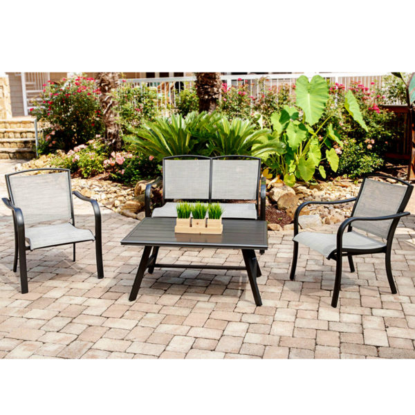 Outdoor hotel love seat, sling fabric, commercial