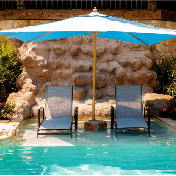 Hotel 7 Resort Pool Chaise Lounger, Outdoor Commercial Furniture w/ sling fabric