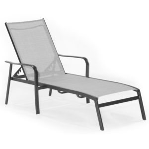 Outdoor chaise lounge, commercial sling fabric chair for hotel pools