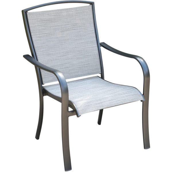 Aluminum dining chair, sling fabric