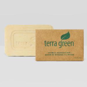 Hotel bar soap, eco-friendly, recycled box, terra green