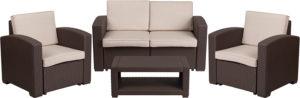Outdoor Furniture Set w cushions, faux rattan, brown