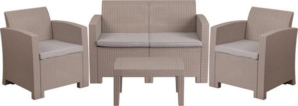 Outdoor Furniture Set - Faux Rattan - 4pc - Light Gray