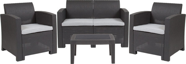 Outdoor Furniture Set - Faux Rattan - 4pc - Dark Gray