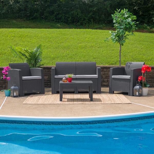 Outdoor Furniture Set, Wicker Rattan, Plastic Resin, Grey
