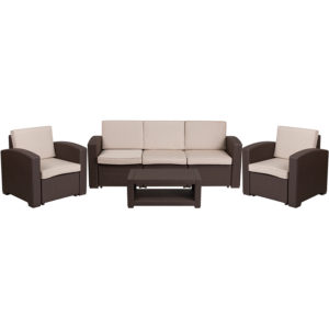 Outdoor Furniture Set, 4pc faux rattan, brown, hotel pool & patio seating
