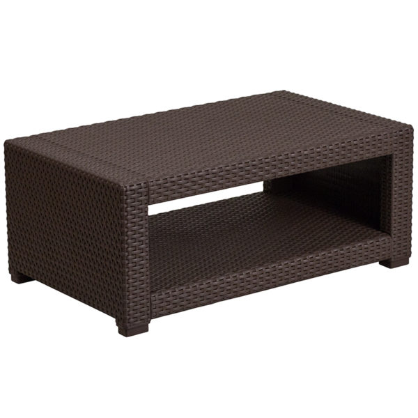Outdoor Coffee Table - Faux Rattan - Chocolate Brown