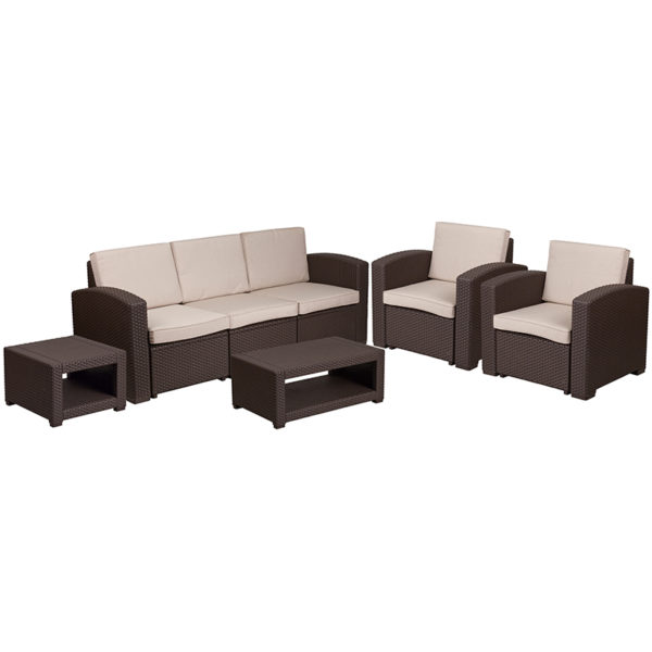 Outdoor Furniture Set - Faux Rattan - 5pc - Chocolate Brown