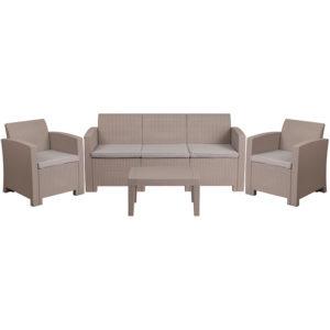 Outdoor Furniture Set - Faux Rattan - 4pc - Light Grey