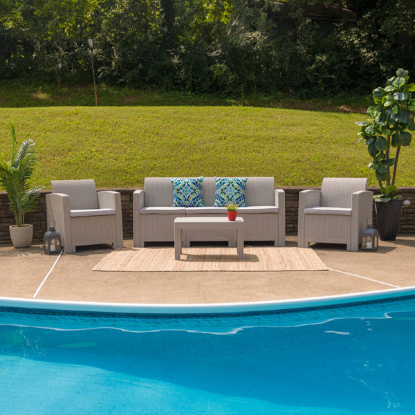 Outdoor Furniture Set - Faux Rattan - 4pc - Light Gray