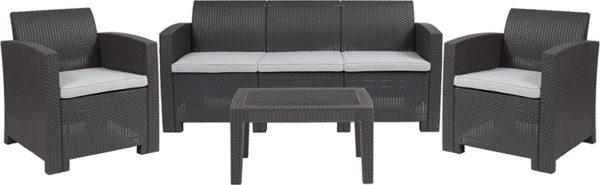 Outdoor Furniture Set, Faux Rattan, Dark Grey