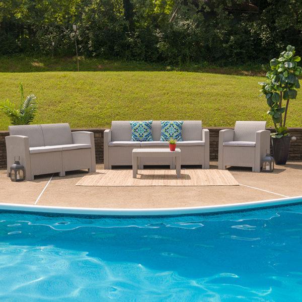 Outdoor Furniture Set, Rattan, Resin, Patio Furniture w Cushions