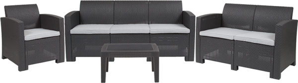Outdoor Furniture Set - Faux Rattan - 4pc - Dark Grey