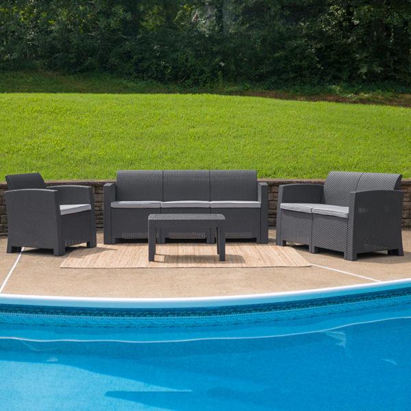 Outdoor Furniture Set, 4 pc Faux Rattan Grey